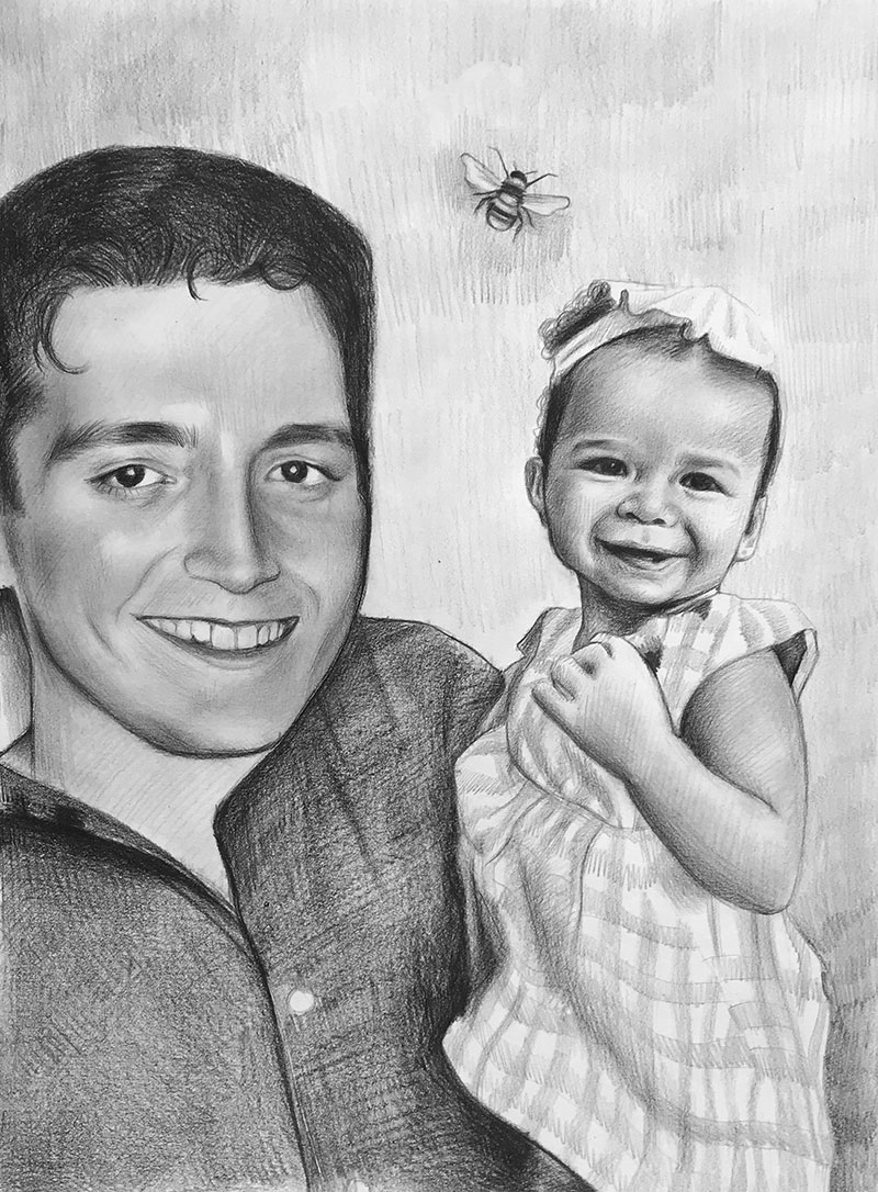 Beautiful black pencil drawing of a father and daughter