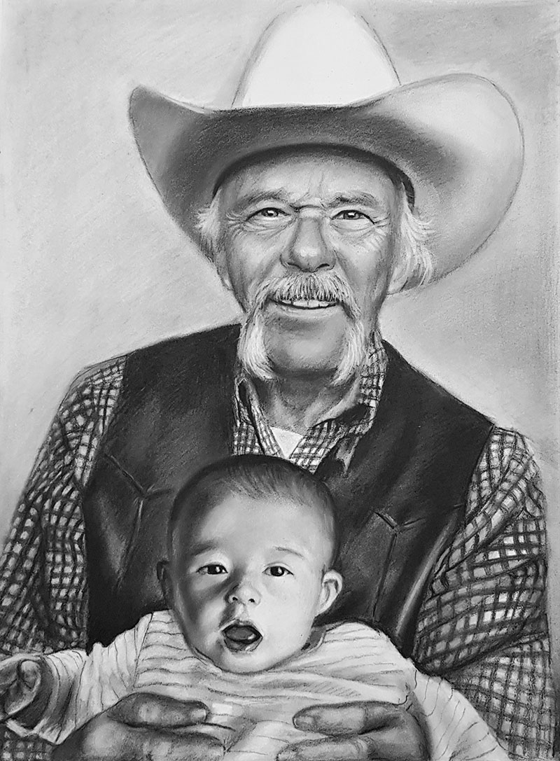 Gorgeous charcoal drawing of a grandfather and chilld