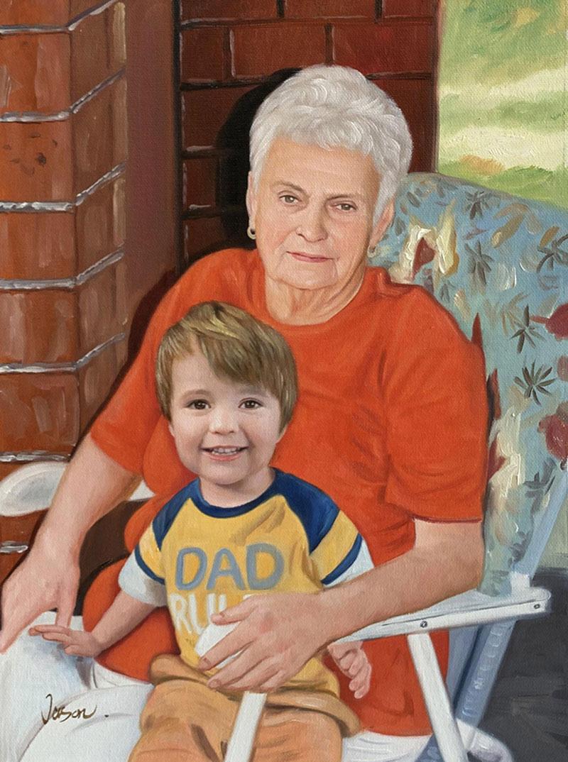 Custom oil artwork of a grandmother and a grandchild