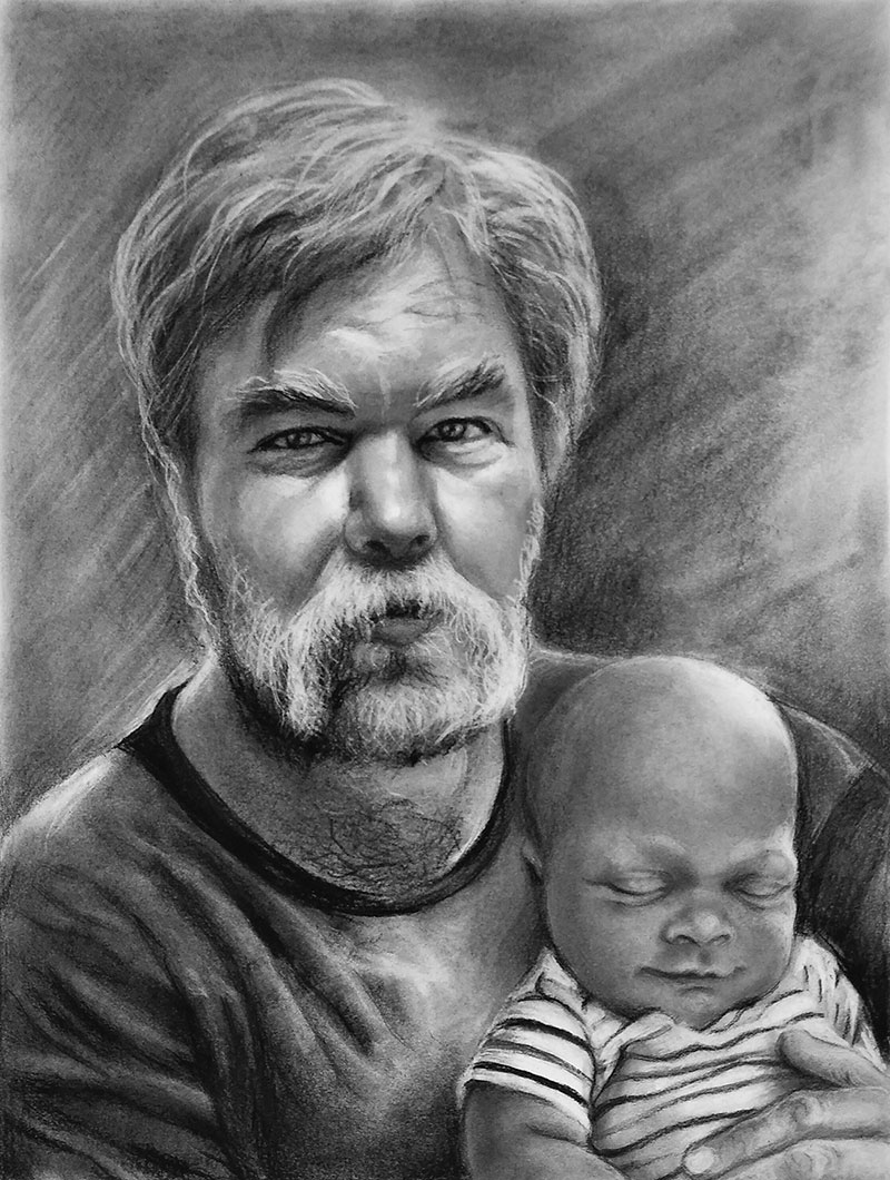 Custom charcoal drawing of a father and son