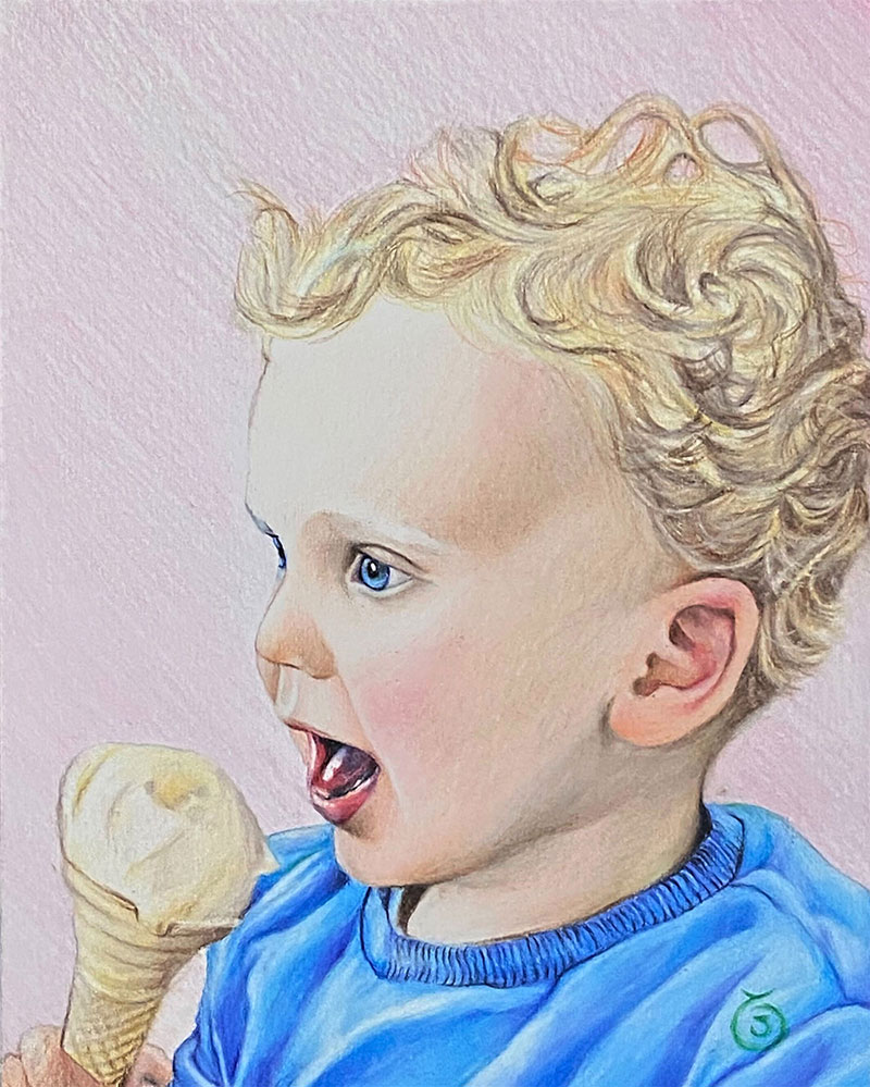 Custom color pencil drawing of a baby eating an ice cream