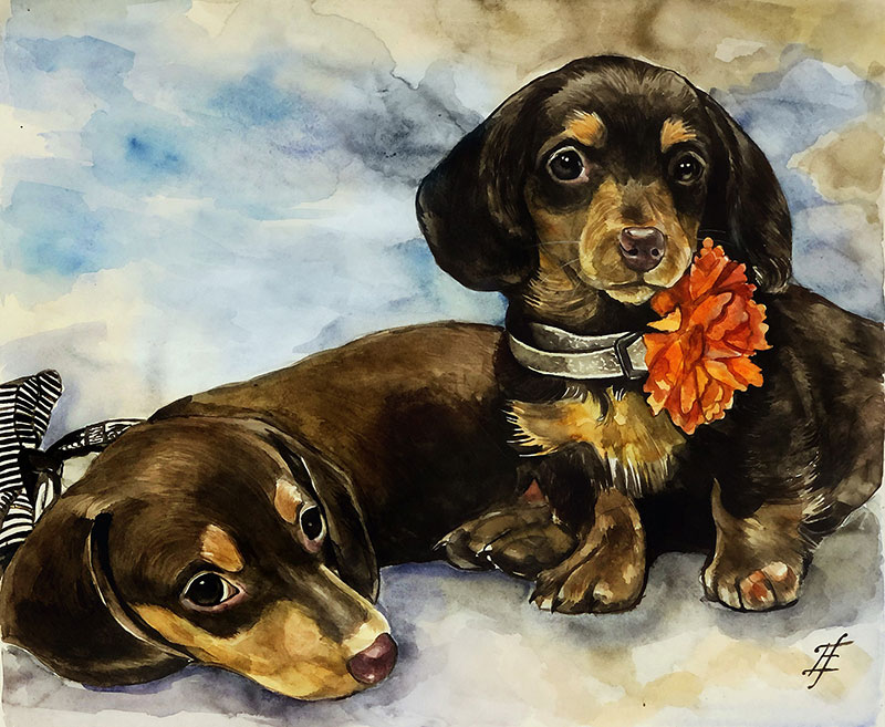 Custom watercolor painting of two dogs