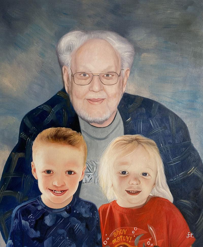 Custom oil painting of a grandparent with grandchildren