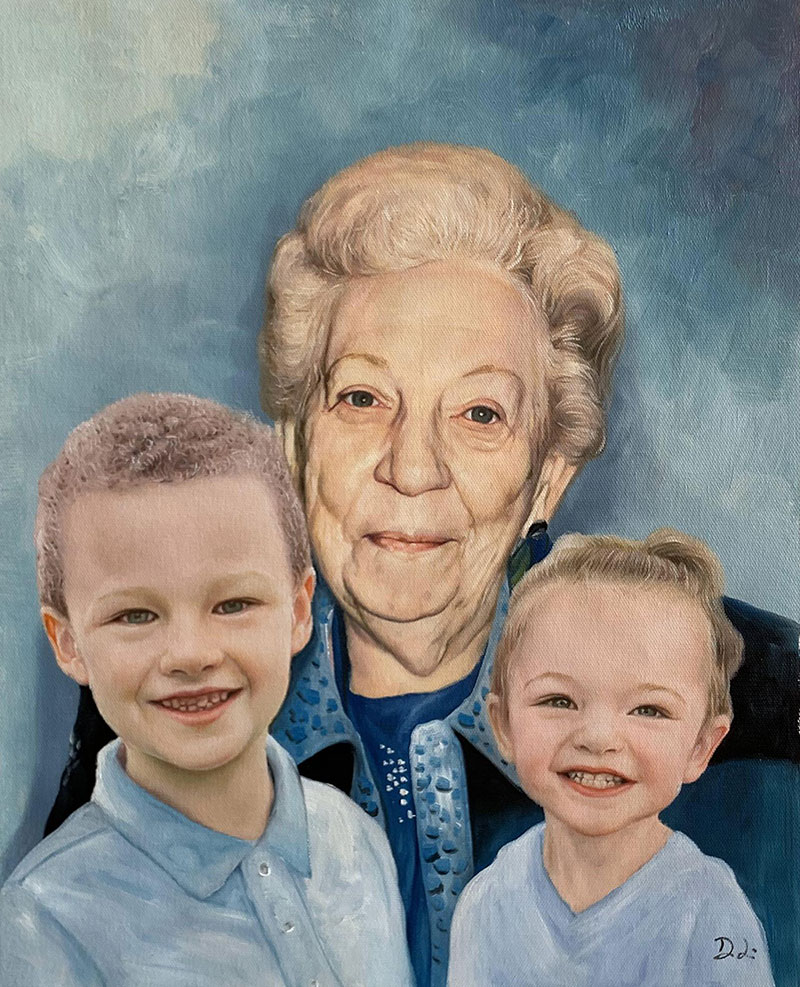 Custom oil artwork of a grandparents and two children