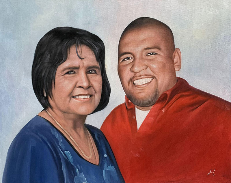 Beautiful oil painting of a mother and son