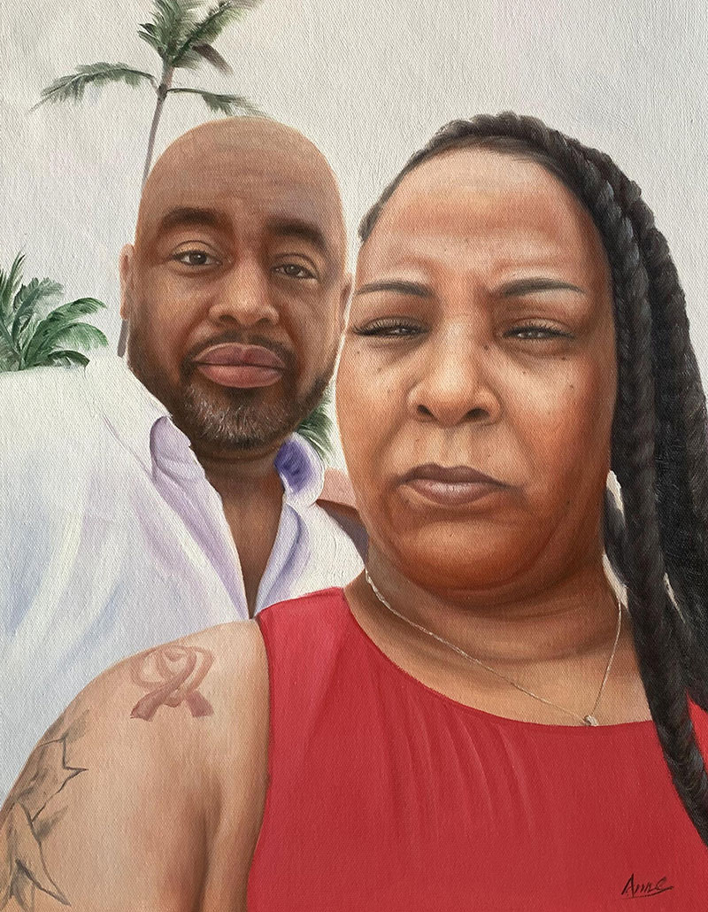Gorgeous acrylic painting of a loving couple
