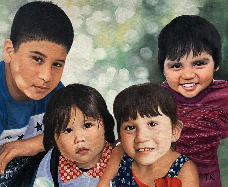 Custom oil painting of four children