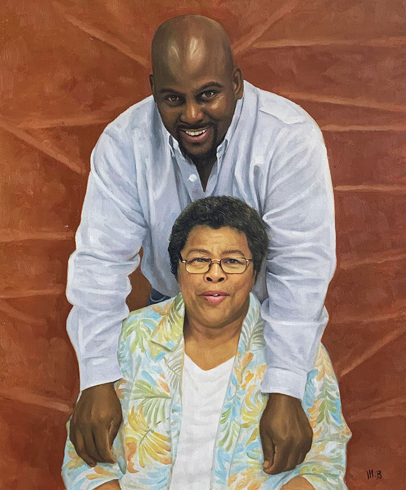 Gorgeous handmade oil painting of a mother and son