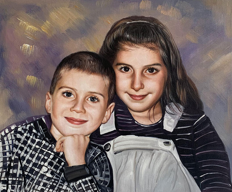 Custom oil painting of two children
