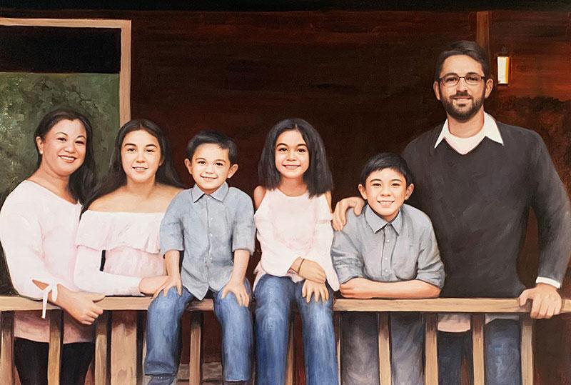 Gorgeous handmade family portrait in oil