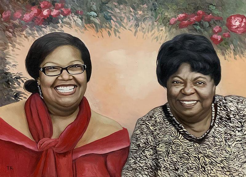 Gorgeous handmade oil artwork of two ladies
