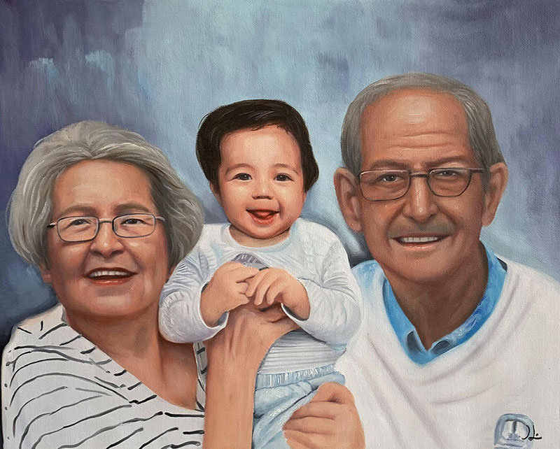 Gorgeous handmade oil artwork of grandparents and grandson