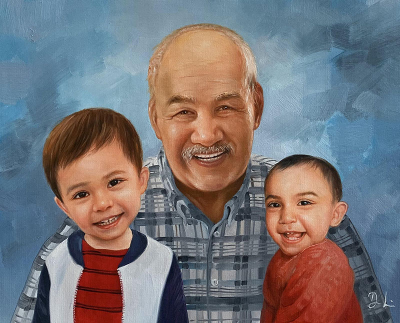 Custom acrylic painting of grndparents and grandchildren