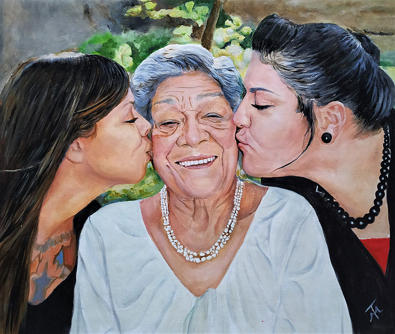Custom oil artwork of grandmother and grandchildren