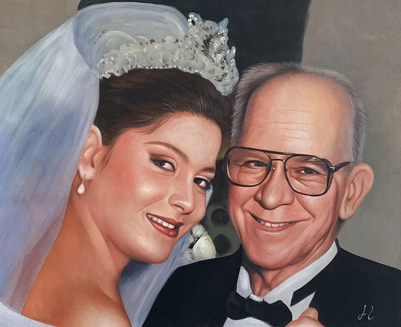 Gorgeous handmade oil painting of a bride with a father