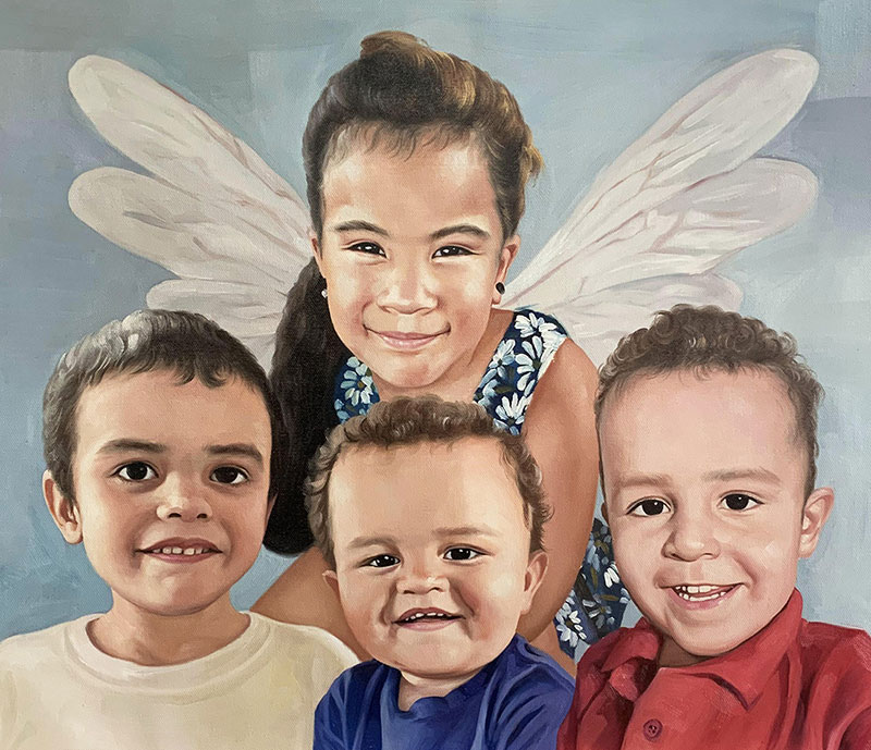 Custom oil painting of four children