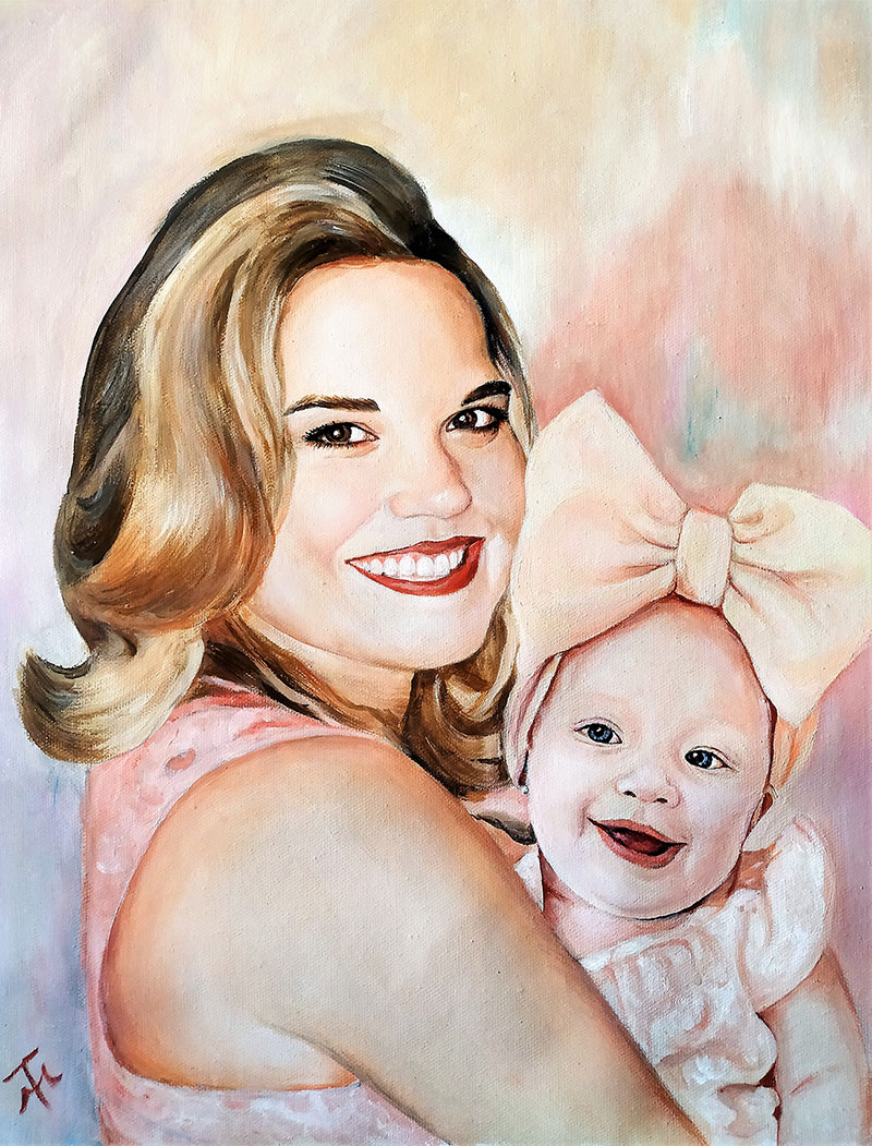 Gorgeous handmade oil painting of a mother and child