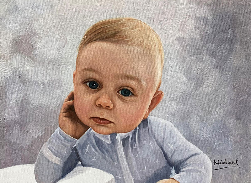 Gorgeous handmade oil painting of a baby