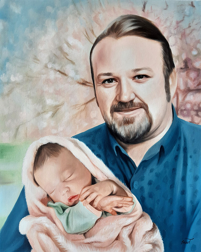 Beautiful handmade oil artwork of a father and son
