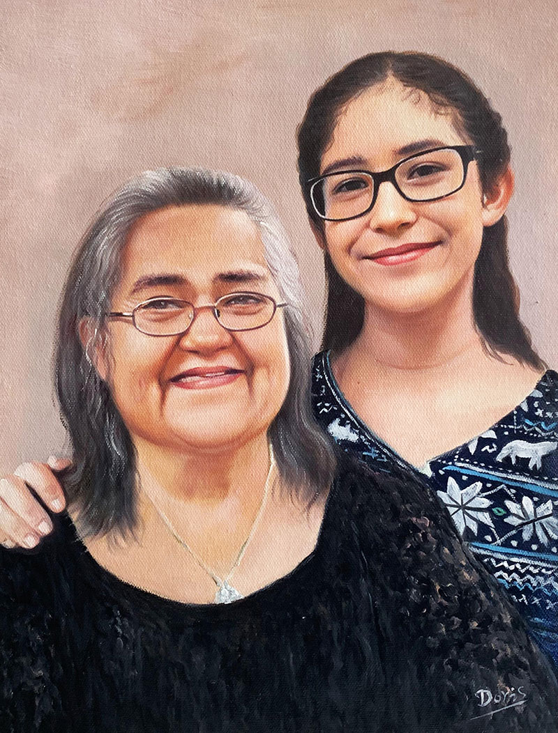 Beautiful oil painting of a grandmother and a granddaughter