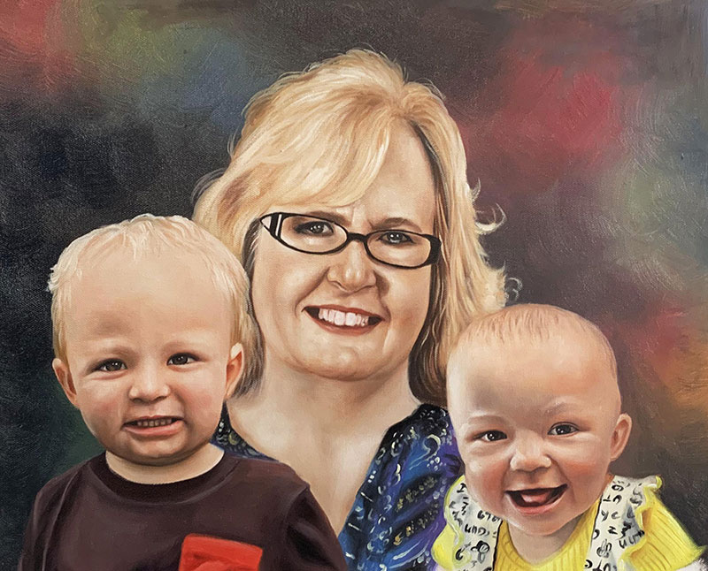 Beautiful handmade oil painting of a mother and children