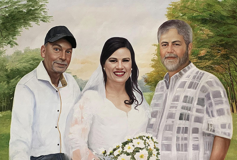 Gorgeous handmade oil artwork of a bride with a family