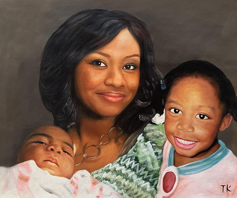 Custom oil painting of a mother with two children