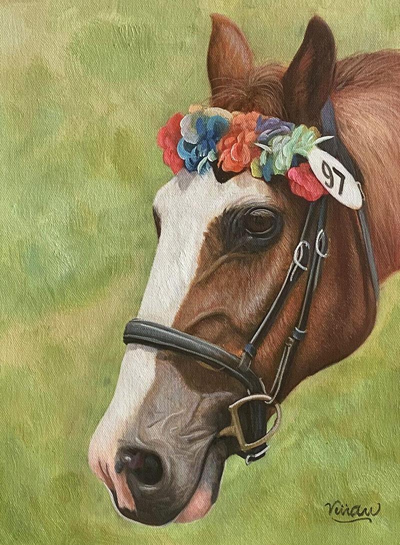 Beautiful handmade oil artwork of a horse