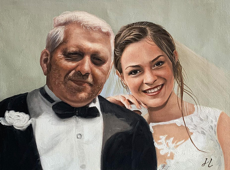 Gorgeous handmade oil painting of a bride with father