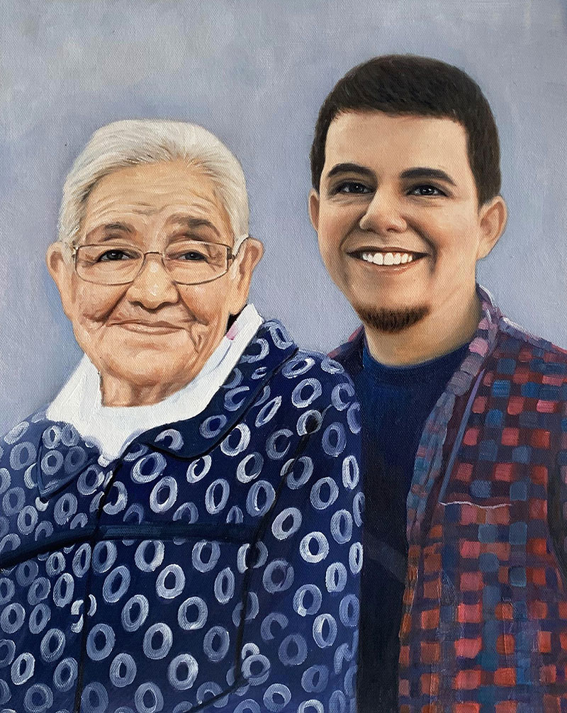 Beautiful oil artwork of a grandmother and a grandson