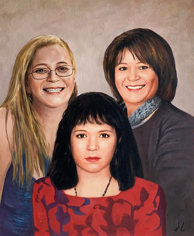 Beautiful handmade oil painting of three adults