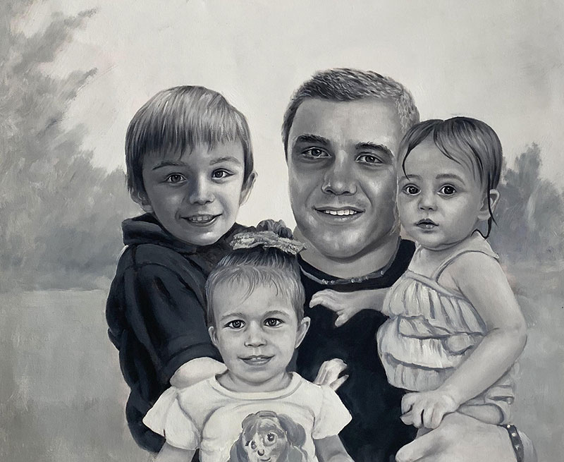 Custom oil painting of a father and children