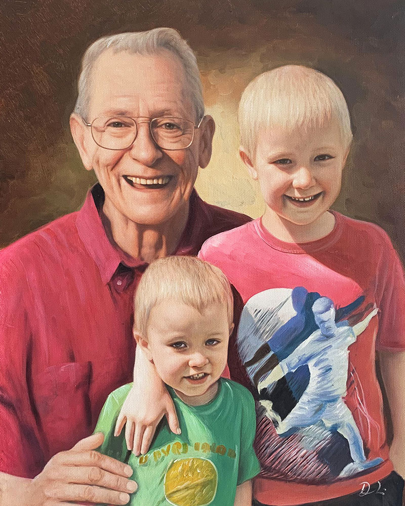 Custom handmade oil painting of a grandfather and a grandson