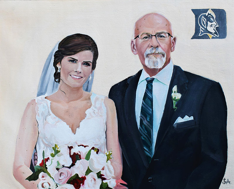 Beautiful oil painting of a bride with her father