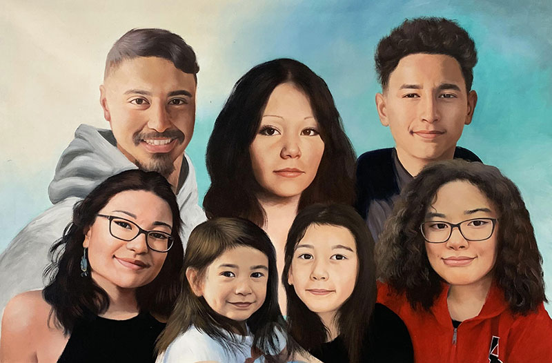 Beautiful handmade oil portrait of a happy family