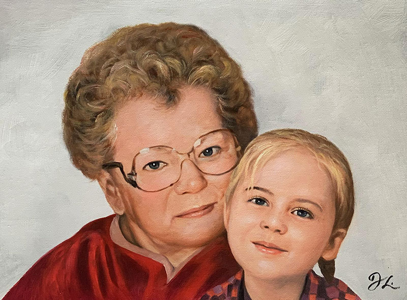 Custom oil artwork of a grandmother and a granddaughter