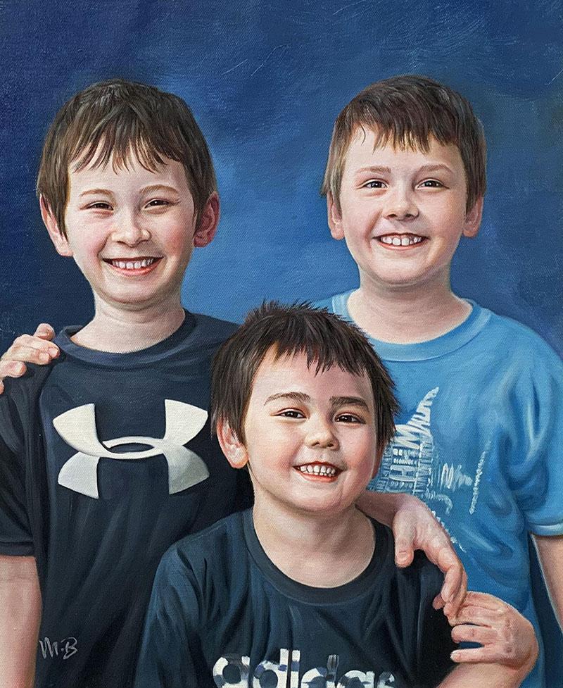Custom oil painting of three siblings