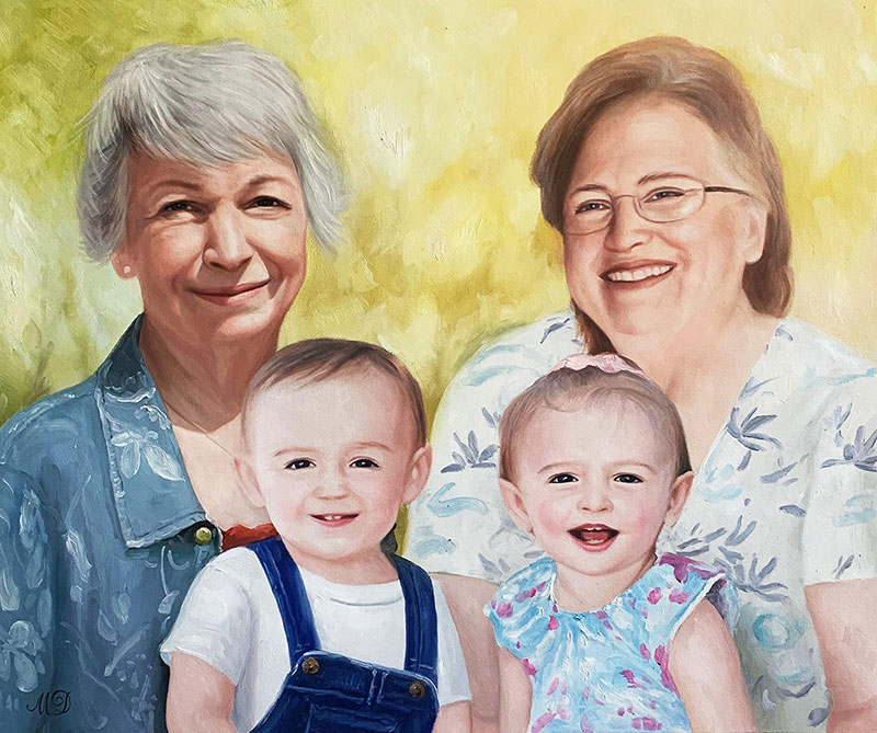 Beautiful oil artwork of grandmothers and grandchildren