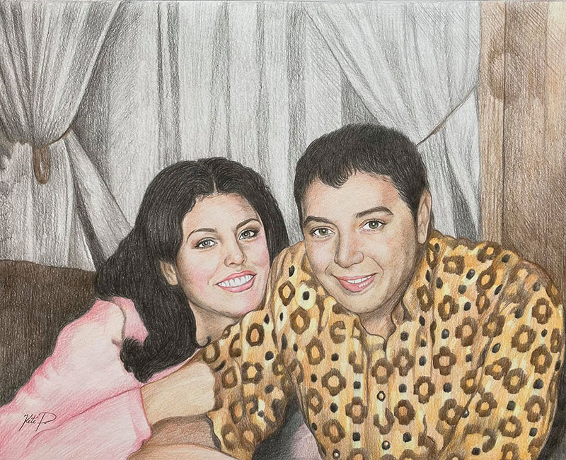 Beautiful handmade color pencil drawing of two adults