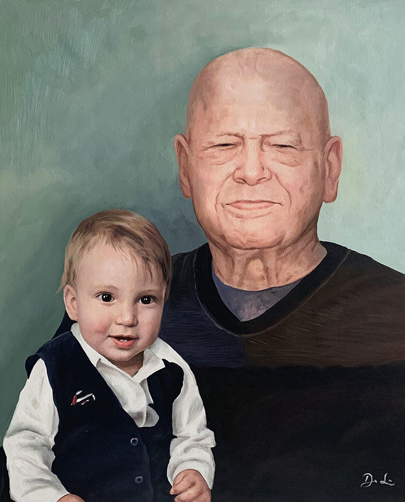 Custom oil painting of a grandfather and a grandson