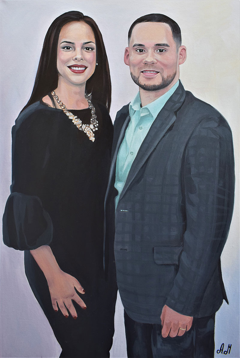 Custom handmade acrylic painting of two adults