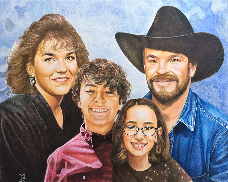 Beautiful color pencil drawing of a family