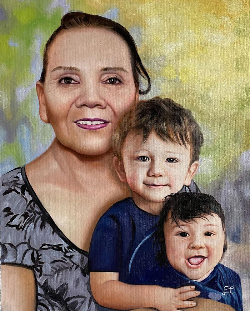 Beautiful oil artwork of a grandmother and grandchildren