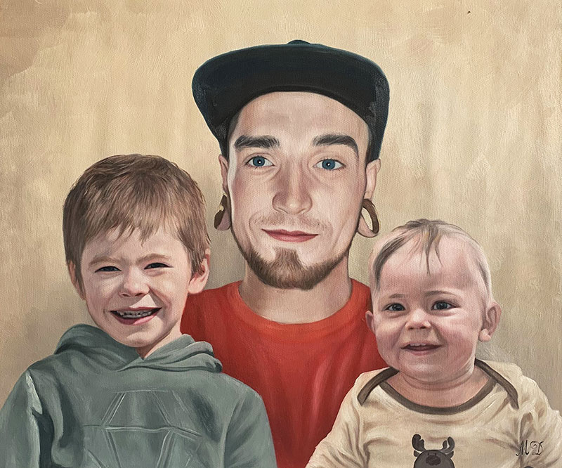 Beautiful oil artwork of a father with children