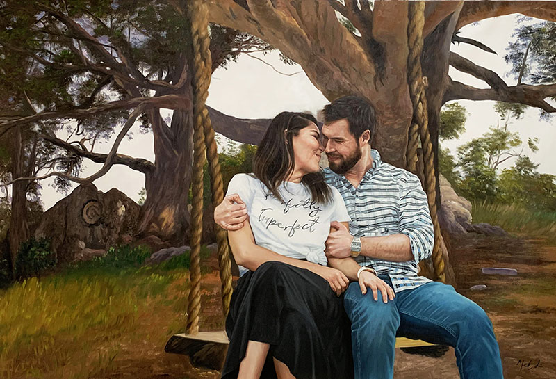 Gorgeous handmade oil artwork of a happy couple