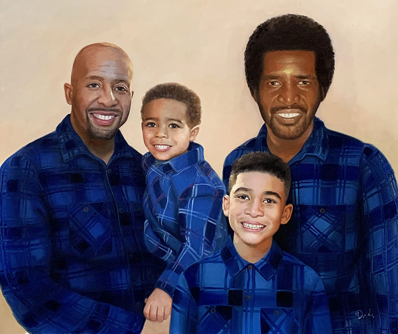 Beautiful oil painting of a family with a solid background