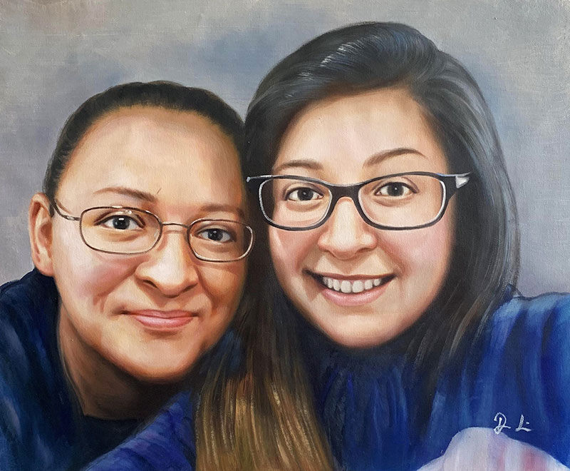 Beautiful acrylic painting of two adults