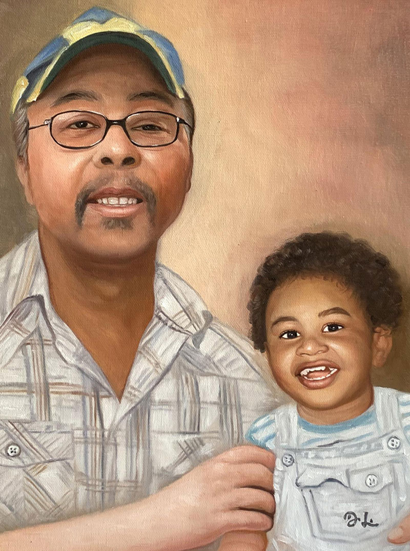 Beautiful oil portrait of a grandfather and a grandchild