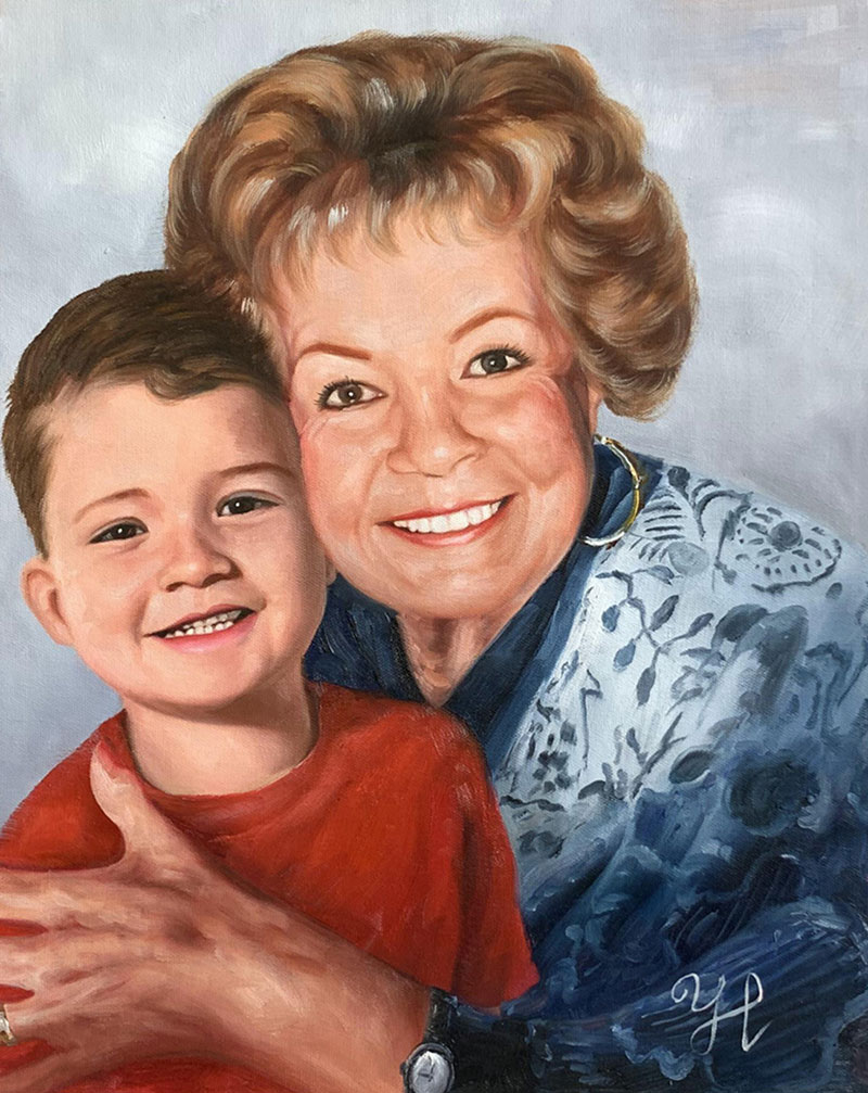 Beautiful oil portrait of a grandmother and a grandchild