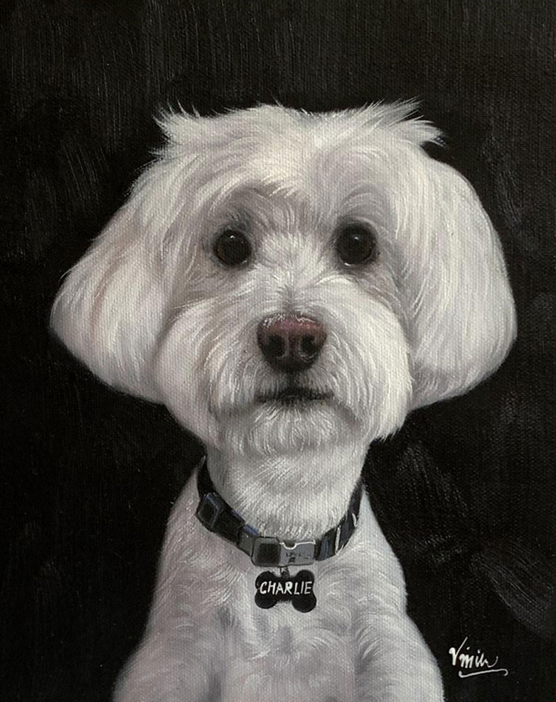 Custom close up oil painting of a dog in black and white